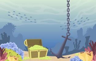 onderwaterscène met schatkist, anker en koraalrifillustratie vector