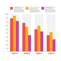 afnemende staafdiagram ter illustratie van economische druk of financiële problemen infographic vector