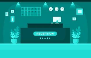 hotellobby met receptie en meubelillustratie vector
