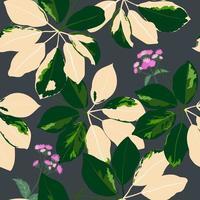 modieuze tropische tuinbladeren met purpere wilde bloemen naadloze patroon op donkere achtergrond
