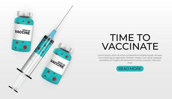 tijd om het ontwerp van de banner voor vaccinatie tegen het coronavirus te vaccineren vector