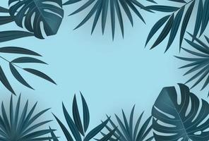 natuurlijke realistische tropische palmbladeren op blauwe achtergrond