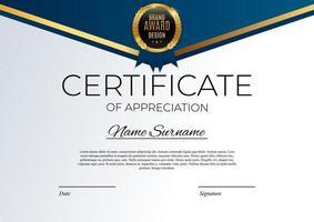 blauw en goud certificaat van prestatie sjabloon