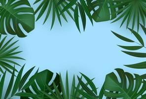 abstracte realistische groene tropische palmbladeren op blauwe achtergrond
