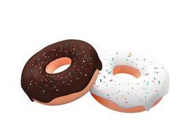realistische 3d zoete smakelijke donuts. vector illustratie