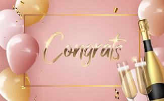 realistische 3d ballon gefeliciteerd achtergrond met fles champagne en een glas voor feest, vakantie, verjaardag, promotiekaart, poster. vector illustratie