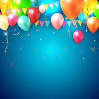 realistische 3d ballonachtergrond voor partij met blauwe gradiëntbankgrond