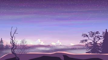 avondlandschap, dennenbos in mist en besneeuwde bergen, sterrenhemel met vallende sterren. vector illustratie