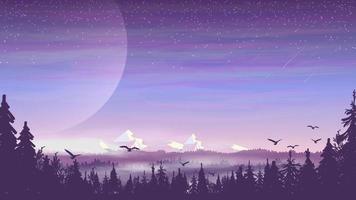 dennenbos, prachtige bergen, avondlandschap met sterrenhemel. vector illustratie