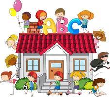 veel kinderen doen verschillende activiteiten in en om het huis vector