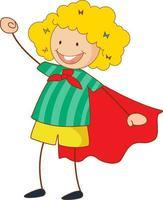 super held meisje stripfiguur in de hand getrokken doodle stijl geïsoleerd