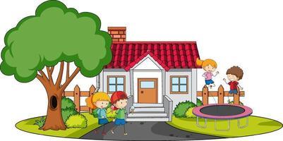 vooraanzicht van mini-huis met veel kinderen op witte achtergrond
