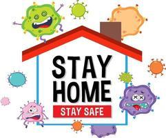 blijf thuis blijf veilig lettertype met virus stripfiguur