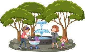 moeder met haar kinderen in het geïsoleerde park vector