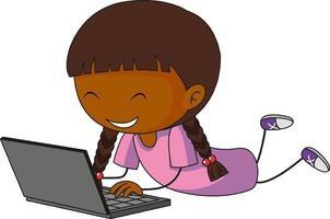 een doodle jongen met behulp van laptop stripfiguur geïsoleerd