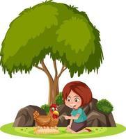 geïsoleerde scène met een meisje dat met een kip speelt vector