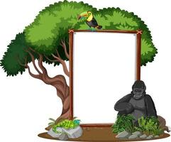 lege banner met wilde dieren en regenwoudbomen op witte achtergrond vector