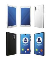 set van realistische smartphones mockup op witte achtergrond