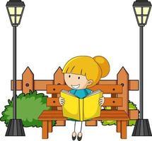 schattig meisje leesboek doodle stripfiguur