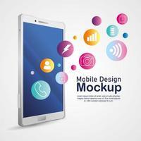ontwerpmodel voor mobiele telefoons, realistisch smartphonemodel met pictogrammen vector