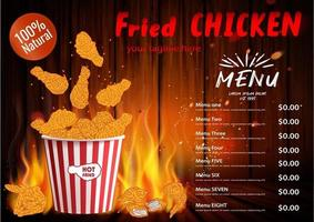 gebakken kippenvlees. fastfood menu ontwerpelementen. vector