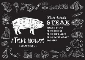 steakmenu voor restaurant en café. voedsel flyer. vector
