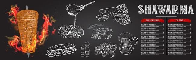 shoarma koken en ingrediënten voor kebab. vector