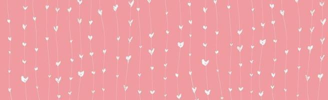 abstracte roze achtergrond met wit geschilderde harten - vector afbeelding