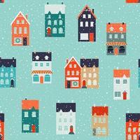 winterhuisjes voor kerst- en kerststoffen en decor. naadloze patroon. vector