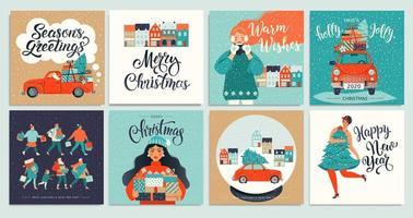 kerst- en nieuwjaarsjabloon ingesteld voor scrapbooking, gefeliciteerd, uitnodigingen, tags, stickers, ansichtkaarten. Kerstaffiches instellen. vector illustratie.