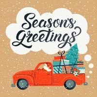 vrolijk kerstfeest gestileerde typografie. vintage rode auto met kerstman, kerstboom en geschenkdozen. vector vlakke stijl illustratie.