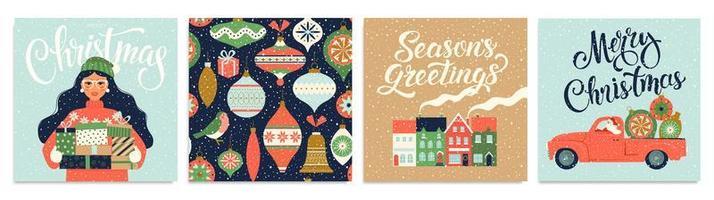 sjablonen voor kerstmis en nieuwjaar voor groet scrapbooking, gefeliciteerd, uitnodigingen, tags, stickers, ansichtkaarten. Kerstaffiches instellen. vector