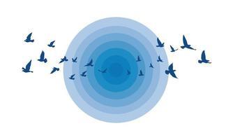 vliegende vogels silhouetten op geïsoleerde achtergrond. vector illustratie. geïsoleerde vogel vliegen. tatoeage en behang achtergrondontwerp. lucht en wolk met vliegvogel.