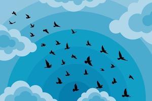 vliegende vogels silhouetten op witte achtergrond. vector illustratie. geïsoleerde vogel vliegen. tatoeage en behang achtergrondontwerp. lucht en wolk met vliegvogel.