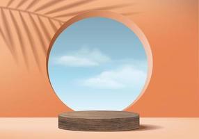 achtergrond vector 3d oranje koraal cilinder houten podium en minimale wolkenscène met verlof, houten podium 3d-rendering, houten podium roze pastel. podiumproducten halloween podiumplatform 3d luchtvertoning