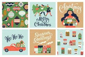 kerst- en nieuwjaarsjabloon ingesteld voor scrapbooking, gefeliciteerd, uitnodigingen, labels, stickers, ansichtkaarten. Kerstaffiches instellen. vector illustratie.