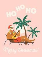 vakantie of vakantie met de kerstman. platte vectorillustratie. vector