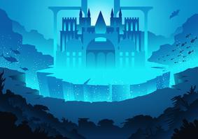 Stad van het landschap van Atlantis vector