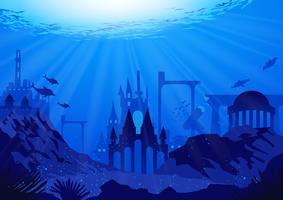 Fantastisch van de stad Atlantis vector