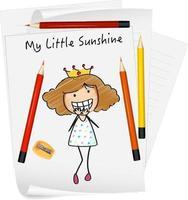 schets kleine kinderen stripfiguur op papier geïsoleerd vector