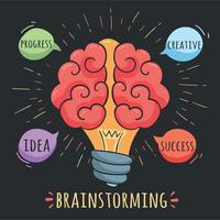 Brainstormen Concept Op Zwarte Vector