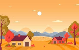 herfst parkscène met bomen en huizen vector