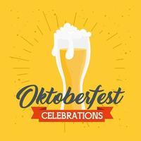 Oktoberfestviering met glas bier vector