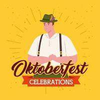 oktoberfest viering banner met in traditionele kleding vector