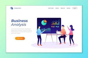 webbanner achtergrond vector voor data-analyse, digitale marketing, teamwerk, bedrijfsstrategie en analyse.