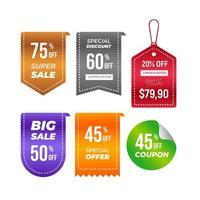 prijskaartjes vector collectie. lint verkoop banners geïsoleerd. nieuwe collectie biedt vector stickerontwerp.