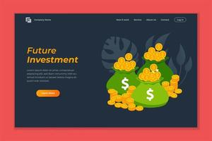 investeringen webbanner achtergrondsjabloon. stapel munten en bankbiljetten illustratie vector