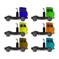vrachtwagen ingesteld op witte achtergrond vector
