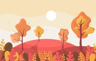 herfstscène met glooiende heuvels, bomen en bladeren