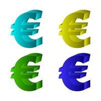 euro ingesteld op witte achtergrond vector